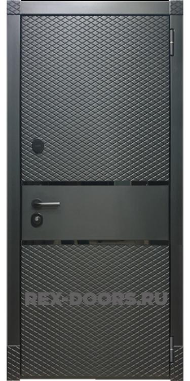 Входная металлическая дверь Rex 15 Чешуя Чёрный кварц